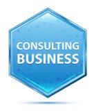咨询的企业水晶蓝色六角形按钮 库存例证
