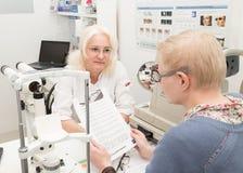 咨询的妇女与眼科医生两个与式样releas 免版税库存照片