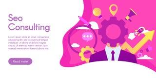 咨询Seo的概念,在平的设计的传染媒介例证 库存图片