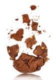 咬住入与面包屑的巧克力曲奇饼 免版税库存图片
