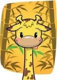 咬住在竹子的动画片逗人喜爱的长颈鹿在竹森林离开 库存照片