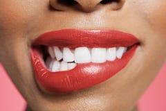 咬住她的在色的背景的特写镜头观点的女性红色嘴唇 免版税图库摄影