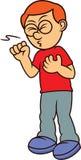 咳嗽动画片的病的人 免版税库存图片