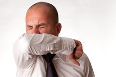 咳嗽手肘人 库存图片
