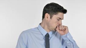 咳嗽病的年轻的商人,咳嗽 股票视频