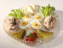 咸味干乳酪、煮沸的鸡蛋和金枪鱼头脑 免版税库存照片