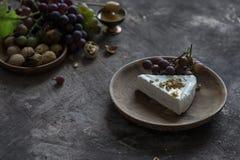 咸味干乳酪乳酪凝乳用蜂蜜、核桃和葡萄 免版税库存照片
