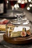咸味干乳酪乳酪和酒在节日晚会 免版税库存图片