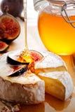 咸味干乳酪乳酪用无花果和蜂蜜 免版税库存图片