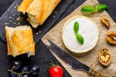 咸味干乳酪乳酪用法国面包 免版税库存照片