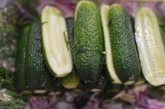 咸和用卤汁泡的绿色黄瓜 免版税库存图片