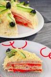 咸薄煎饼蛋糕 免版税库存图片