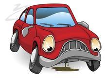 哀伤下来残破的汽车的动画片 免版税库存照片