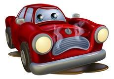 哀伤下来残破的汽车的动画片 向量例证