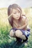 哀伤亚裔的女孩 库存图片
