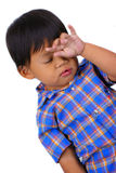 哀伤儿童的表达式 免版税库存照片