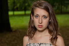 哀伤女孩的公园 图库摄影