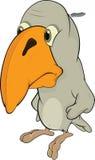 哀伤小鸟的动画片 免版税库存图片