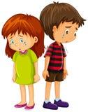 哀伤男孩和女孩哭泣 向量例证