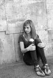 哀伤的十几岁的女孩 免版税库存照片