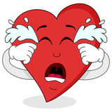 哀伤的哭泣的红色心脏漫画人物 库存照片