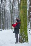 哀伤的失去的孩子,男孩在有玩具熊的,冬天一个森林里 库存图片