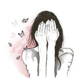 哀伤的女孩和蝴蝶 图库摄影