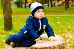 哀伤的孩子坐树桩 库存图片