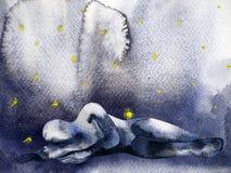 哀伤的悲伤情感感觉人水彩绘画设计 皇族释放例证