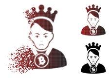 哀伤的溶化的Pixelated半音Bitcoin阁下Icon 皇族释放例证