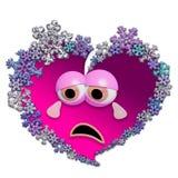哀伤的生气蓬勃的心脏由雪花制成 免版税库存图片