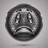 哀伤的生锈的金属兴高采烈的面孔按钮 库存图片