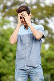 哀伤的男性少年 免版税库存图片