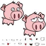 哀伤的矮小的大顶头猪动画片表示集合 免版税库存照片