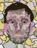 哀伤的石面孔 免版税库存图片