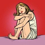 哀伤的美丽的少妇在床上 向量例证