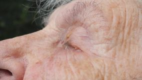 哀伤的老妇人的接近的面孔有深皱痕的哭泣 不快乐的祖母画象  真实恳切啜泣  影视素材