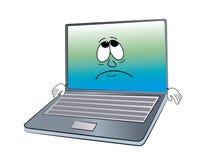 哀伤的膝上型计算机动画片 图库摄影