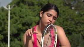 哀伤的运动女性少年网球员 影视素材