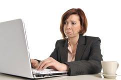 哀伤的重音的企业红发妇女在与计算机一起使用 图库摄影
