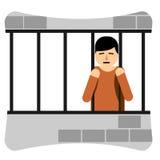 哀伤的年轻人在监狱 图库摄影