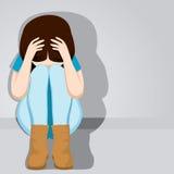 哀伤的绝望少年女孩 免版税库存图片
