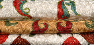 织品和纺织品背景  库存图片