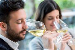 品尝白葡萄酒品尝的夫妇 免版税图库摄影