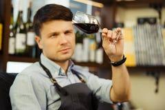 品尝红葡萄酒和做笔记的男性斟酒服务员 在葡萄酒酿造的行业 库存图片