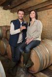 品尝红葡萄酒的种葡萄并酿酒的人 免版税库存图片