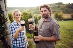 品尝酒的酒游人在葡萄园里 免版税库存照片