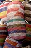 -织品手工制造-色的篮子 免版税图库摄影