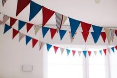 织品旗子在绝尘室 免版税库存图片