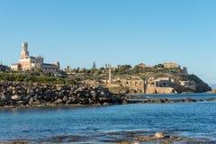 品柱Passero -西勒鸠斯-西西里岛意大利Portopalo  免版税图库摄影